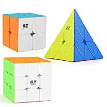 D-FantiX Qiyi Stickerless Speed Cube Bundle, Qidi S 2x2 Warrior W 3x3 Qiming Pyraminx Magic Cube Puzzle Toys for Kids