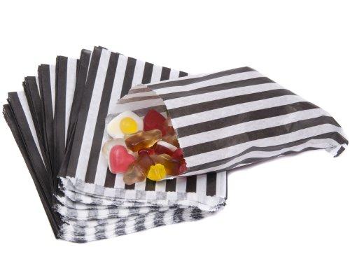 bag it Plastics Black Candy Stripe Paper Sweet Bags 5″ x 7″ – Pack of 100