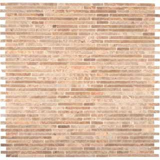 MS International Crema Ivy Bamboo Stone Pattern 12 in x 12 in Mosaic Polished Marble Floor and Wall Tile - BOX OF 5 TILES