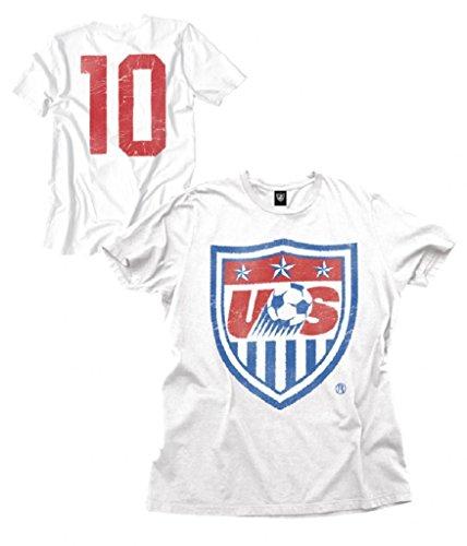 USA Soccer Team Logo Number 10 Adult White T-Shirt (Adult X-Large)