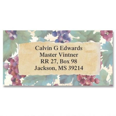Grapes and Vines Border Personalized Return Address labels- Set of 144 1-1/8