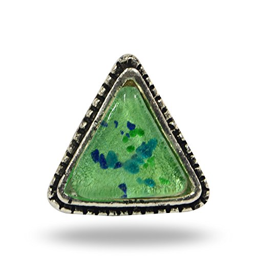 Metal and Glass Bhim Triangle Knob Green By Trinca-Ferro