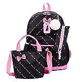 YJYdada Women Three-Piece School Bag Print Backpack Bow Canvas Travel Backpack Tote Bag (Black)