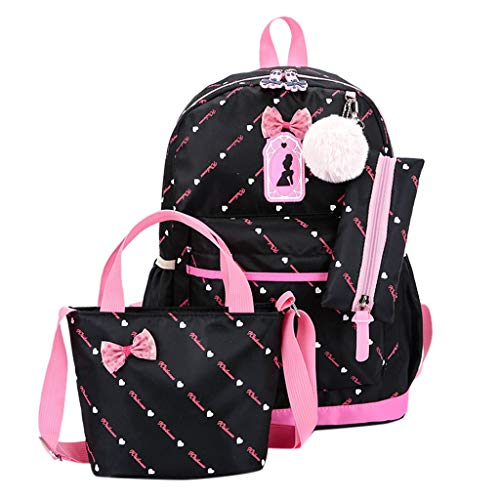 TIFENNY Women Three-Piece School Bag Dot Print Backpack Bow Canvas Travel Backpack +Tote Bag 3pcs