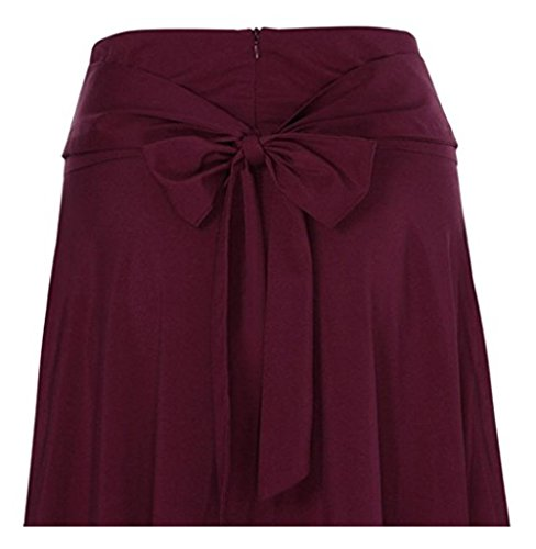 Jessica CC Women' s High Waist Pleated A-line Long Skirt Front Slit Belted Maxi Skirt, Red, XX-Large by Jessica CC (Image #3)