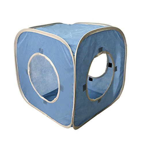 - Cat Cube Pop Up Non-woven Fabric Play Tent Toy with Hook and Loop,3 Peek Holes Collapsible,Lightweight,Provide Exercise Game for Cats,Kitties,Puppies (Blue)