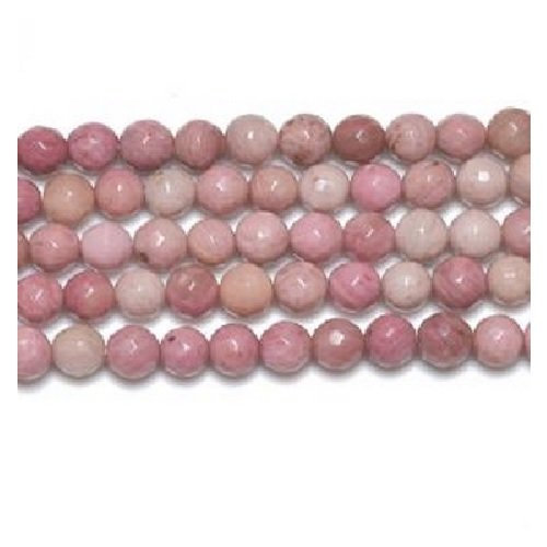 (Packet 8 x Pink Rhodonite 6mm Faceted Round Beads VP1645 (Charming Beads))