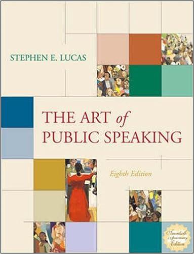 The art of public speaking by stephen e. Lucas.