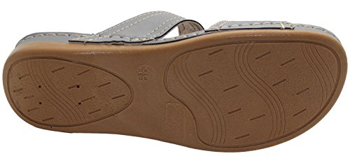 True Face Womens Peep Toe Comfy Slip on Plimsoll Sandals Montgo-grey sCp0f