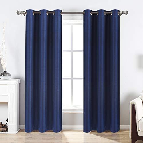 Valea Home Blackout Curtains Grommet Faux Silk Satin Room Darkening Curtain Drapes for Bedroom, 38