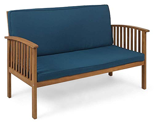 Noble House Outdoor Loveseat in Brown Patina and Dark Teal