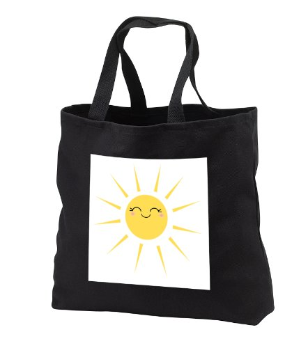 InspirationzStore Kawaii designs - Smiling happy sun - cute kawaii yellow sunny smiley face - summery sunshine on white - sweet summer - Tote Bags - Black Tote Bag JUMBO 20w x 15h x 5d (tb_113063_3)