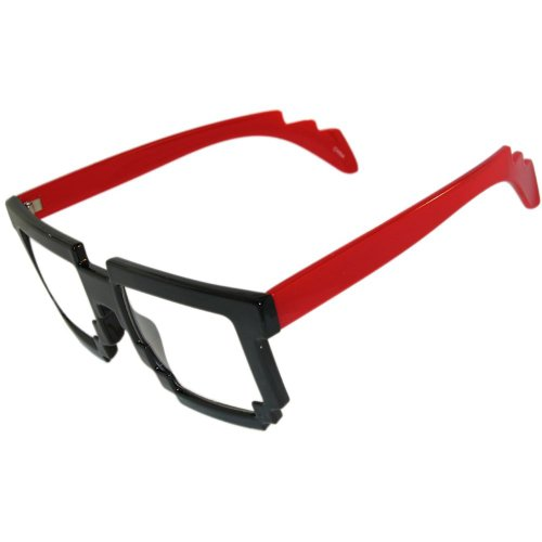Amazing! Pixelated Nerd Geek Glasses! Do the Robot! In Black with Red - Glasses In Geek