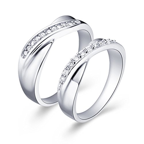 Epinki, 18k White Gold Plated Fashion Jewelry Rings The Swiss Drill Size 6