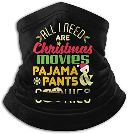 Christmas Movies Pajamas ネックカバー 伸縮 通気性 バンダナ 花粉症対策 フェイスガード 多機能 マジックスカーフ