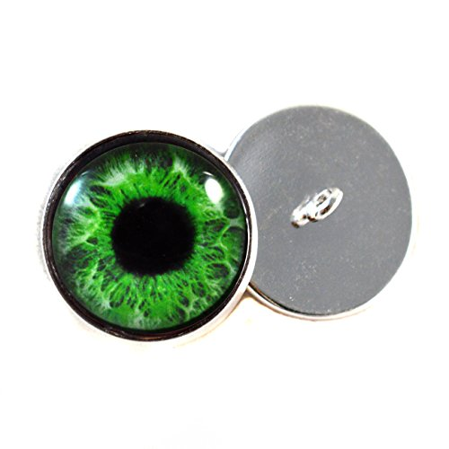Glass Eyes For Dolls With Loops 16mm Green Iris Pupils Glass Eye Cabochons for Fantasy Art Doll Stuffed Animal Soft Sculptures or Jewelry Making Crafts Set of 2 -