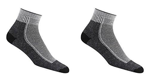 Pack of 2 Wigwam Men's Cool-Lite Mid Hiker Pro Black Quarter Length Socks ()