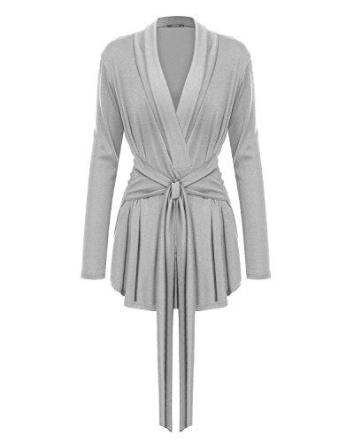 Mixfeer Women's Long Sleeve Open Front Lightweight Drape Wrap Cardigan Travel Sweater with Waist ()