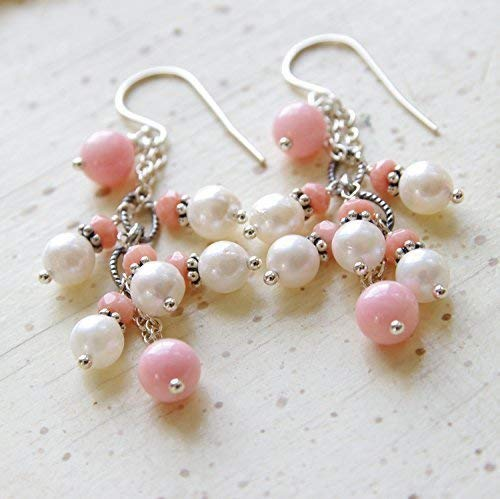 (Peach Pink Coral Earrings White Freshwater Cultured Pearl Sterling Silver 35th Anniversary)