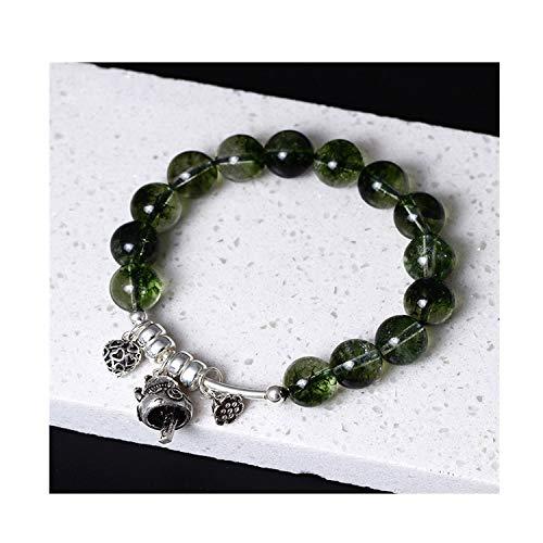 Fashion wonderland 925 Sterling Silver Bracelet Burst Green Ghost Crystal Lucky Cat Bell Beads Elastic Rope Bracelet,1