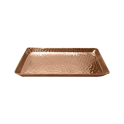 nu steel HRT10SC Metal Vanity Tray, Non-Slip Guest Towel Board for Cosmetics, Makeup, Jewelry Bathroom, Kitchen, Office, Countertops, Closets Storage Organization Hammered Copper Finish ()