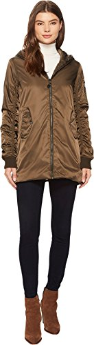 Steve Madden Women's Long Bomber Jacket, Olive With Lace Detail 705H, L