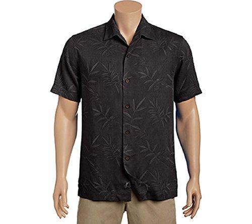 Bahama 100% Silk Shirt - Tommy Bahama Luau Floral Silk Camp Shirt (Color: Black, Size XL)