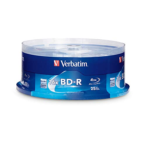 - Verbatim BD-R 25GB 16X Blu-ray Recordable Media Disc - 25 Pack Spindle