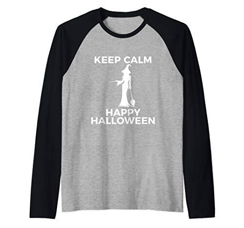 Spectacular Cute Witch Keep Calm Happy Halloween Raglan Baseball Tee (Create Your Own Keep Calm T Shirt)
