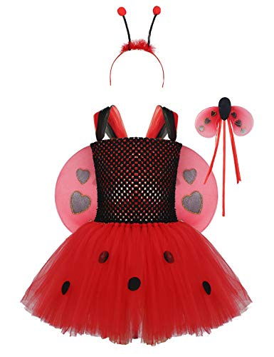 dPois Kids Girls' Ladybug Halloween Birthday Cosplay Party Fancy Costume Sleeveless Polka Dots Tutu Dress with Wings Set Red 18-24 Months]()