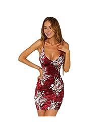 Venxic Women's Bandage Dress Bodycon Midi Print Sleeveless Sexy Party Dresses