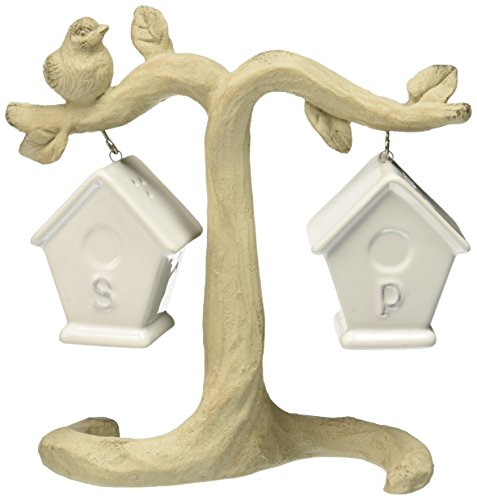 Abbott Collection Ceramic Bird House Salt and Pepper Shakers w/ Branch Stand (3 pieces) (Birdhouse Salt)