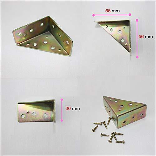 Brass Iron 56x56x30mm Corner Angle Brackets Braces Hardware for Box Furniture Cabinet BW-3440