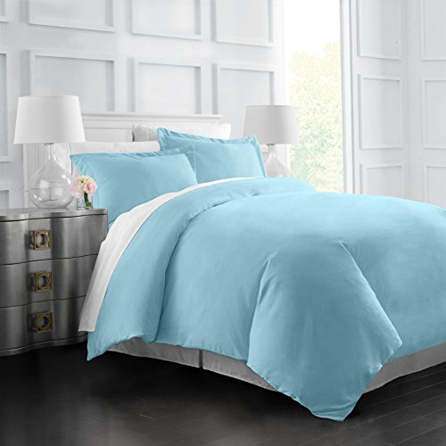 Egyptian Luxury Soft Brushed 1500 Series Microfiber Duvet Cover Set - Hotel Quality & Hypoallergenic with Zippered Closure & Matching Shams - King/California King - Sky Blue by Italian Luxury