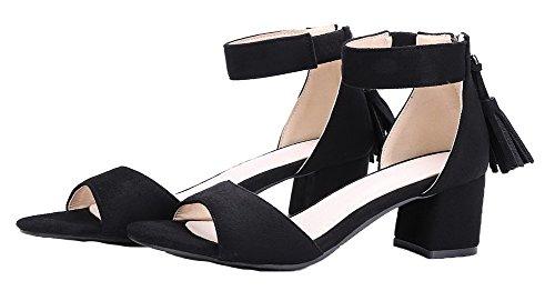 Femme VogueZone009 à Zip Correct Ouverture Sandales d'orteil Noir Couleur Talon Unie ddfrIw