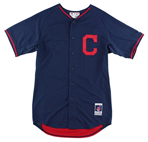Practice Batting Cleveland Indians - Majestic Mens Cleveland Indians MLB Nick Swisher Batting Practice Jersey Navy 48