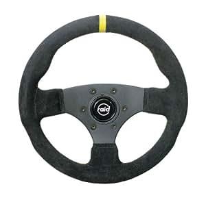 Raid 4236 10 HP Racing - Volante deportivo de piel (360 mm, línea de referencia y costuras amarillas, certificado TÜV), color negro
