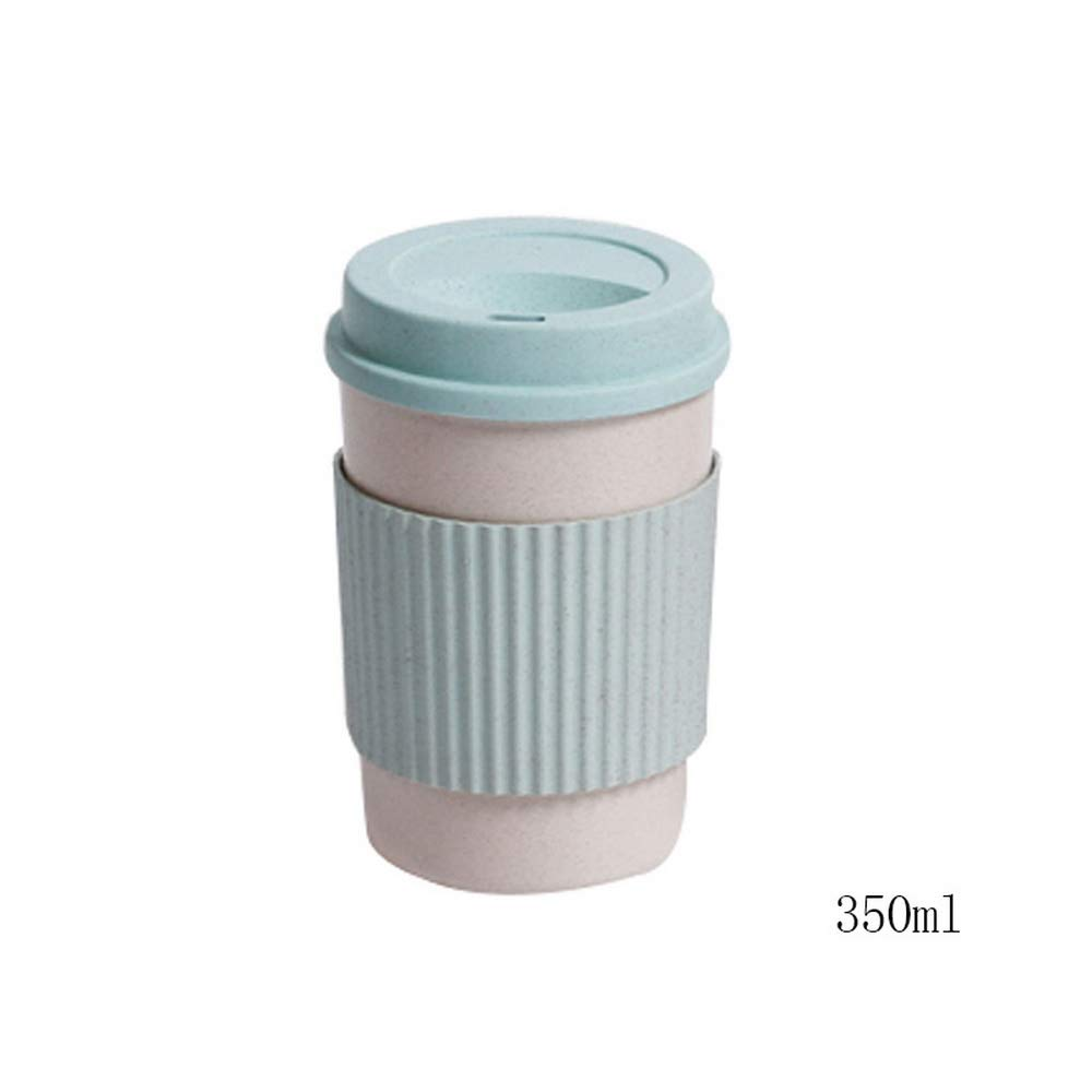 Godagoda Non-Slip and Insulated Plastic Coffee Cup Creative Drink Cup Straw Wheat Fragrance Cup Portable Travel Cup 350ML