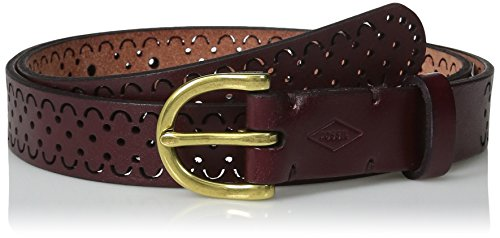 Fossil Women's Scalloped Perforated Belt, Wine, Medium - Belt Wine