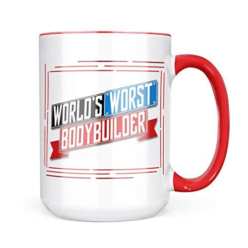 Neonblond Custom Coffee Mug Funny Worlds worst Bodybuilder 15oz Personalized Name