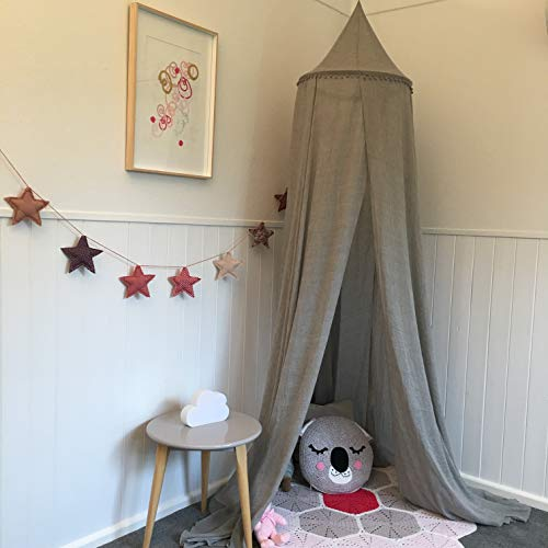 Zeke and Zoey Hanging Grey Bed Canopy with Pom Poms, Drapes -Hideaway Tent Canopies for Girls, Boys, Kids Rooms, Beds or Cribs. Nursery Decoration- Sheer, Flowing -Child, Play, Sleep, Reading, Grey