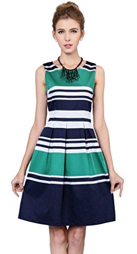 Yacun Women's Stripe Print Fit and Flare Casual Party Dress (Yacun Women Dress)