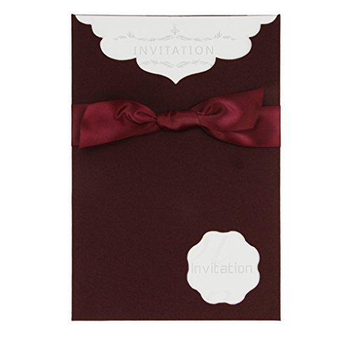 10 Pack Party Invitation and Envelopes Kit for Birthday Party Wedding Bridal Shower Graduation,Ribbon Bowknot RSVP Card Envelopes with Name,Place,Date and Time]()
