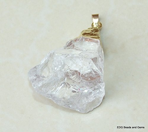 Crystal Clear Quartz Nugget Pendant - Crystal Clear Quartz - Natural - Polished - Clear - Gold Plated Bail - 30mm - 35mm