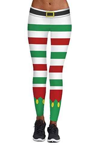 Price comparison product image Veroge Lady's Holiday Party Ankle Length Christmas Lights Stripe Tights M