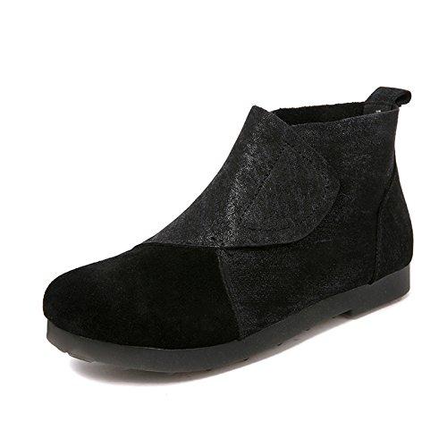 Gaslinyuan Slip on on on vintage in pelle vintage con plateau e stivali da donna (colore   Nero, Dimensione   EU 38) 7e704f
