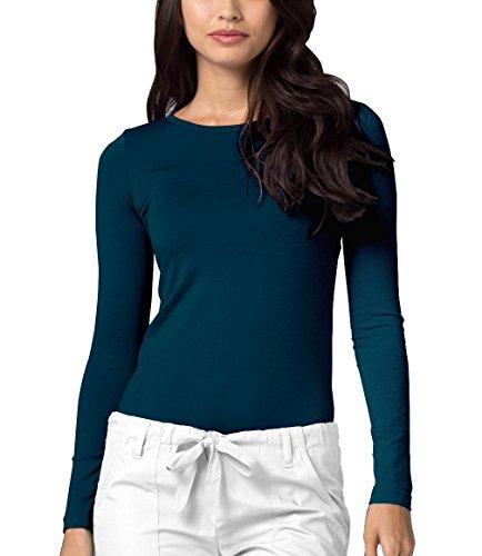 (Adar Womens Comfort Long Sleeve T-Shirt Underscrub Tee - 2900 - Caribbean Blue - XXS)