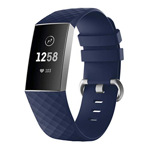 Price comparison product image Fashion Bracelet Silicone Watch Band Sports Replacement Strap For Fitbit Charge 3 (Navy)