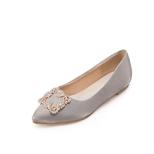 Balamasa Femmes Charmes Pull-on Pointu Orteil Gris Chaussures Plates-chaussures