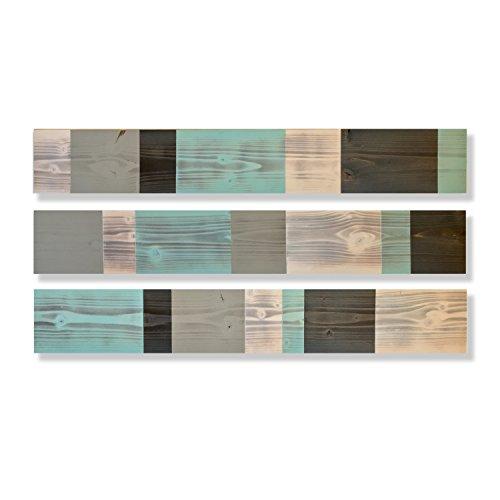 Modern Farmhouse Wood Wall Hanging, Robins Egg Aqua Blue, Grey & White, Rustic Horizontal Wood Wall Art